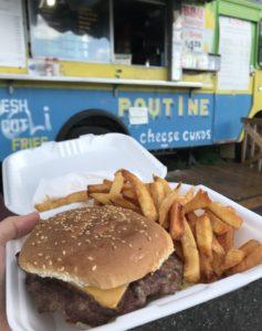 Cheeseburger and fries - Kim's Chip Wagon