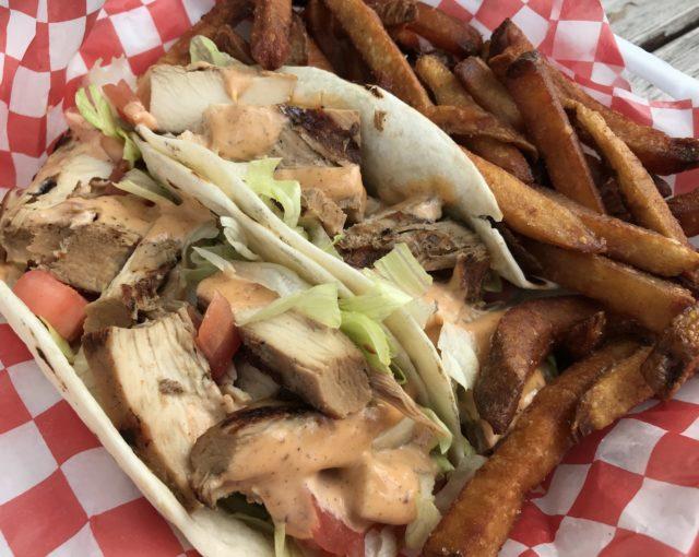Jerk chicken tacos and fries at Jerk on Wheels food truck