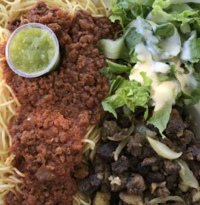 Sauteed beef and spaghetti from Alhuda Restaurant